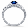 Sterling Silver Oval Blue CZ Ring