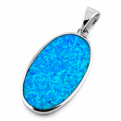 Sterling Silver Oval Blue Lab Opal Pendant