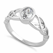 Sterling Silver Oval Clear CZ Celtic Ring