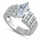 Sterling Silver Oval Cut Clear CZ Ring