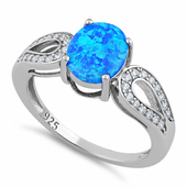 Sterling Silver Oval Lab Opal CZ Ring