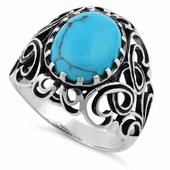 Sterling Silver Oval Synthetic Turquoise Celtic Ring