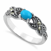 Sterling Silver Oval Synthetic Turquoise Marcasite Ring