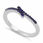 Sterling Silver Pave Amethyst CZ Ring