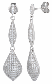 Sterling Silver Pave CZ Dangle Earrings