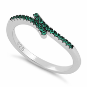 Sterling Silver Pave Emerald CZ Ring