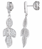 Sterling Silver Pave Leaves CZ Dangle Earrings