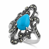 Sterling Silver Pear Shape Blue Turquoise Marcasite Ring