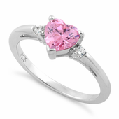 Sterling Silver Pink Heart CZ Ring