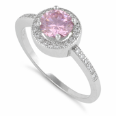 Sterling Silver Pink Round CZ Halo Ring