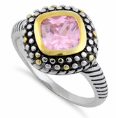 Sterling Silver Pink Two Tone Unique CZ Ring