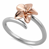 Sterling Silver Plumeria Two-tone Rose Gold Ring