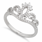 Sterling Silver Princess Crown Pave CZ Ring