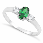 Sterling Silver Oval Cut Emerald CZ Ring