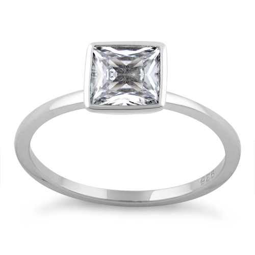 sterling silver princess cut solitaire clear cz ring
