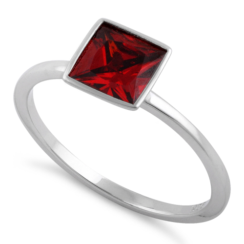 sterling silver princess cut solitaire garnet cz ring