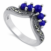 Sterling Silver Blue Lapis Pointed V Marcasite Ring
