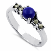Sterling Silver Blue Lapis Round Marcasite Ring
