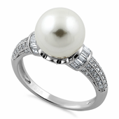 Sterling Silver Queen Crown Pearl CZ Ring