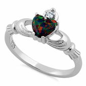 Sterling Silver Rainbow Lab Opal Claddagh CZ Ring