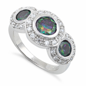 Sterling Silver Rainbow Topaz Three Stone Halo CZ Ring