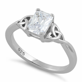 Sterling Silver Rectangle Clear Celtic CZ Ring