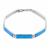Sterling Silver Rectangular Blue Lab Opal Bracelet