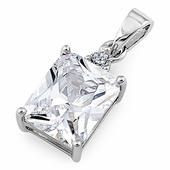 Sterling Silver Rectangular Clear CZ Pendant