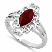 Sterling Silver Red Resin Marquise Ring