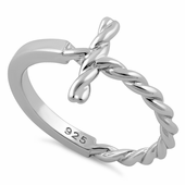 Sterling Silver Rope Cross Ring