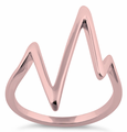 Sterling Silver Rose Gold Plated Heartbeat Ring