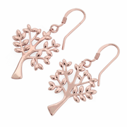 Sterling Silver Rose Gold Plated Tree of Life Hook Earrings
