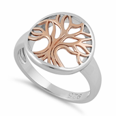 Sterling Silver Rose Gold Plated Tree of Life Ring