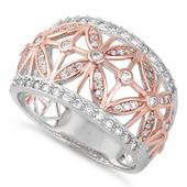Sterling Silver Rose Gold Two Tone Flower Caged CZ Ring