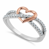 Sterling Silver Rose Gold Two Tone Heart CZ Ring