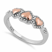 Sterling Silver Rose Gold Two Tone Triple Heart Ring