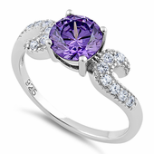 Sterling Silver Round Amethyst CZ Ring