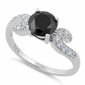 Sterling Silver Round Black CZ Ring