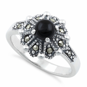 Sterling Silver Round Black Onyx Flower Marcasite Ring