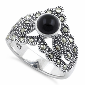 Sterling Silver Round Black Onyx Tiara Marcasite Ring
