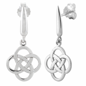 Sterling Silver Round Celtic Cross Earrings