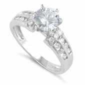 Sterling Silver Round Cut Clear CZ Engagement Ring
