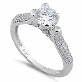 Sterling Silver Round Cut Engagement CZ Ring