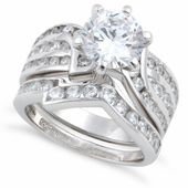 Sterling Silver Round Cut Engagement Set CZ Ring