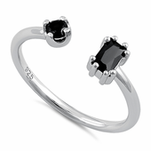Sterling Silver Round & Emerald Cut Black CZ Ring