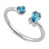 Sterling Silver Round & Emerald Cut Blue Topaz CZ Ring