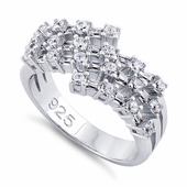Sterling Silver Round & Emerald Cut Clear CZ Ring