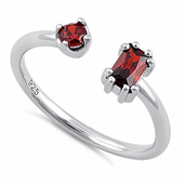 Sterling Silver Round & Emerald Cut Garnet CZ Ring