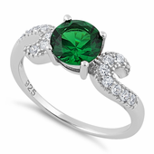 Sterling Silver Round Emerald CZ Ring