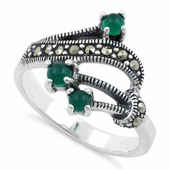 Sterling Silver Round Green Agate Abstract Marcasite Ring